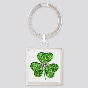 Glitter Shamrock With A Flower Keychains
