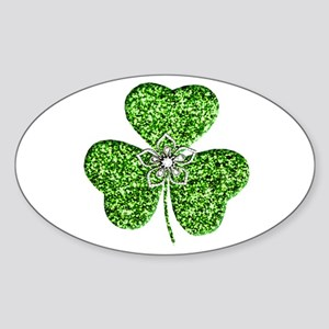Glitter Shamrock With A Flower Sticker