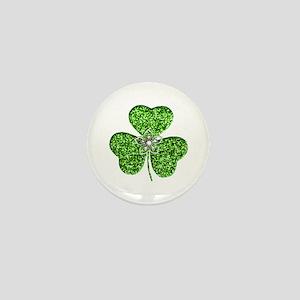 Glitter Shamrock With A Flower Mini Button