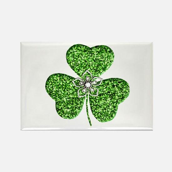 Glitter Shamrock With A Flower Magnets