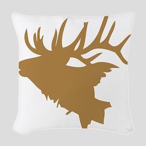 Brown Elk Head Woven Throw Pillow