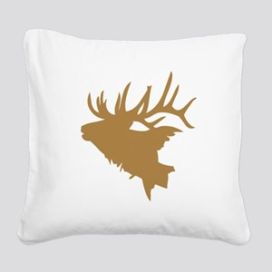 Brown Elk Head Square Canvas Pillow
