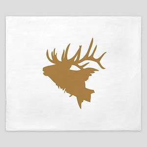 Brown Elk Head King Duvet