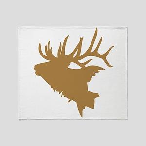 Brown Elk Head Throw Blanket