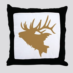 Brown Elk Head Throw Pillow