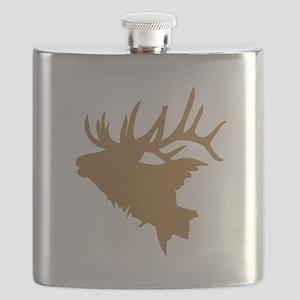Brown Elk Head Flask