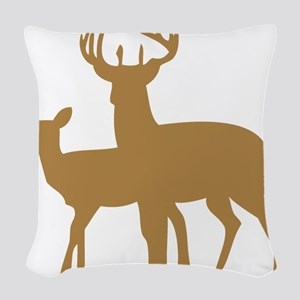 Brown Buck And Doe Woven Throw Pillow