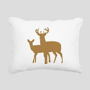 Brown Buck And Doe Rectangular Canvas Pillow