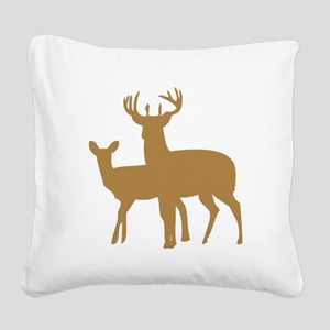 Brown Buck And Doe Square Canvas Pillow