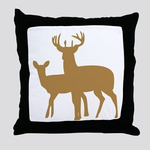 Brown Buck And Doe Throw Pillow