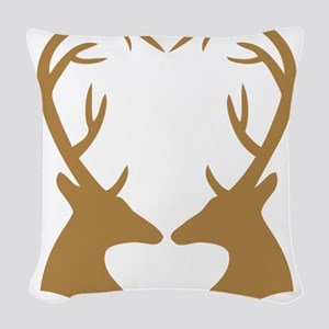 Brown Deer Antlers Heart Woven Throw Pillow