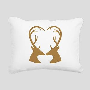 Brown Deer Antlers Heart Rectangular Canvas Pillow