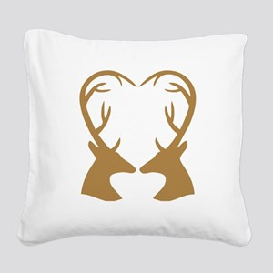Brown Deer Antlers Heart Square Canvas Pillow