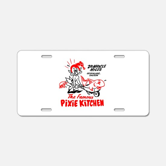 Pixie Kitchen Fish in Wheel Aluminum License Plate