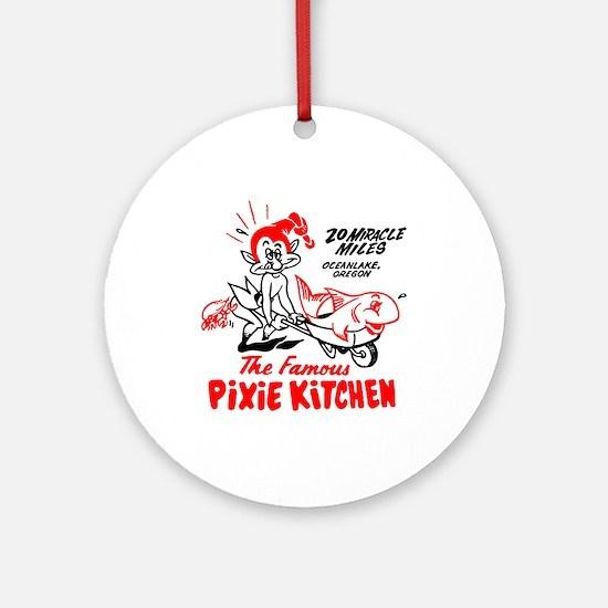 Pixie Kitchen Fish in Wheelbarrow Ornament (Round)
