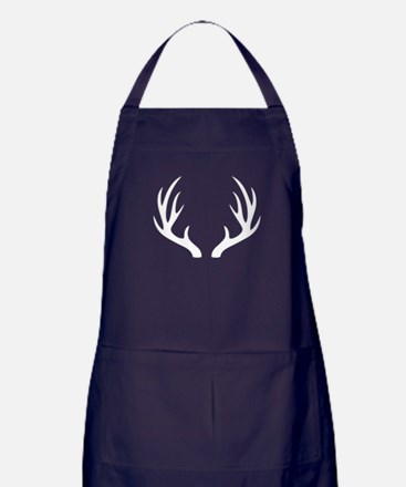White 12 Point Deer Antlers Apron (dark)