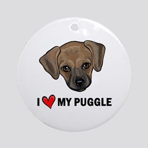 I Heart My Puggle Ornament (Round)