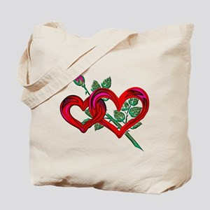 Two Hearts and Pink Rose Tote Bag