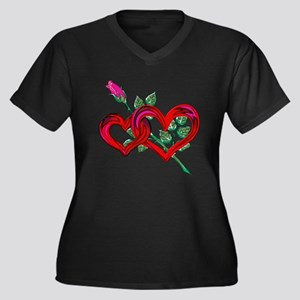 Two Hearts a Women's Plus Size V-Neck Dark T-Shirt