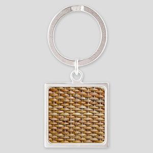 Woven Wicker Basket Square Keychain