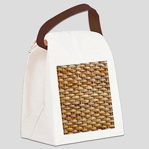 Woven Wicker Basket Canvas Lunch Bag