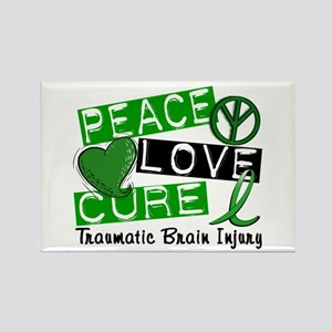 Peace Love Cure 1 TBI Rectangle Magnet