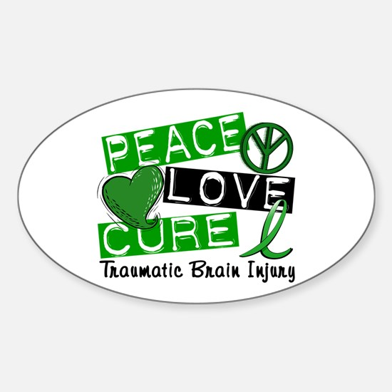 Peace Love Cure 1 TBI Sticker (Oval)