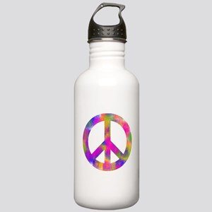 Colorful Peace Sign Water Bottle