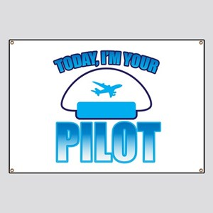 Im YOUR PILOT with Captain hat and jet plane Banne