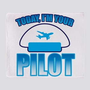 Im YOUR PILOT with Captain hat and jet plane Throw
