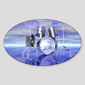 Drum Set On Blue Lake Sticker (Oval)
