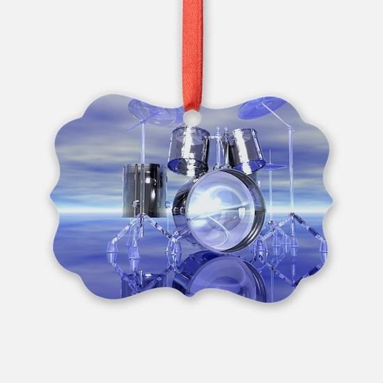 Drum Set On Blue Lake Ornament