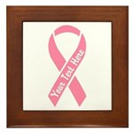 Personalize Pink Ribbon Framed Tile