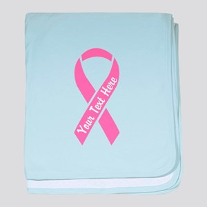 Personalize Pink Ribbon baby blanket