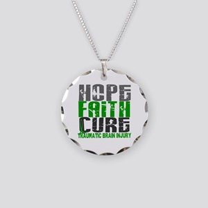 Hope Faith Cure TBI Necklace Circle Charm