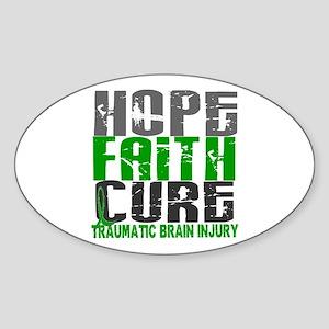 Hope Faith Cure TBI Sticker (Oval)