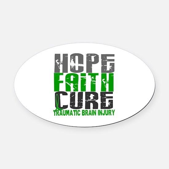 Hope Faith Cure TBI Oval Car Magnet