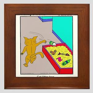 CAT LITTER BOX Framed Tile