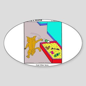 CAT LITTER BOX Sticker (Oval)