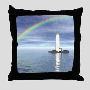 Light House Under Rainbo Throw Pillow