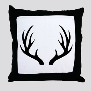 12 Point Deer Antlers Throw Pillow