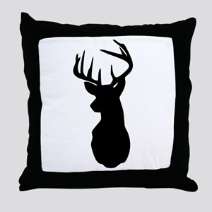 Buck Hunting Trophy Silhouette Throw Pillow