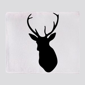 Buck Hunting Trophy Silhouette Throw Blanket