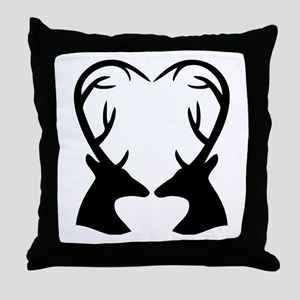 Deer Antlers Heart Throw Pillow