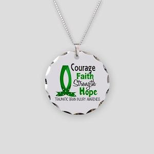 Courage Faith 1 TBI Necklace Circle Charm