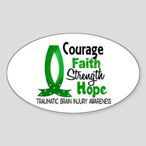 Courage Faith 1 TBI Sticker (Oval)