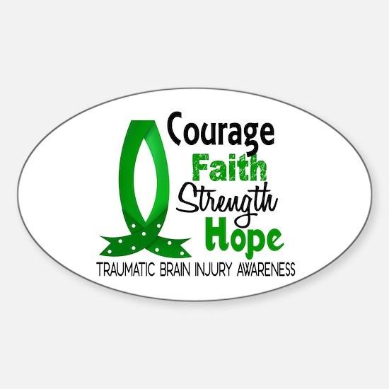 Courage Faith 1 TBI Sticker (Oval)