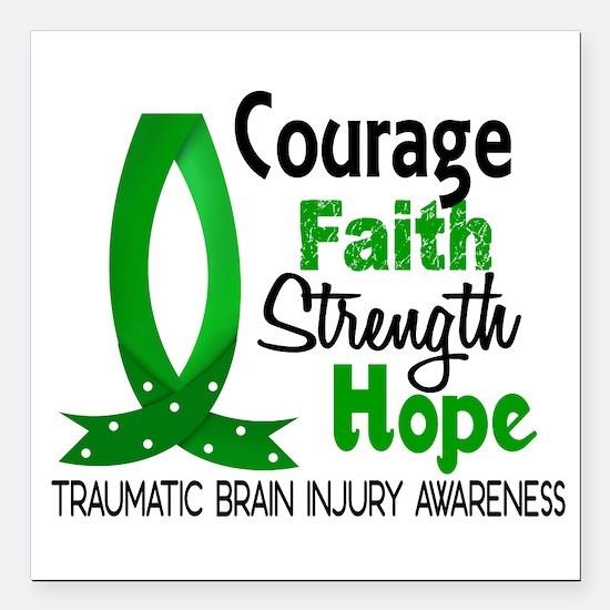 "Courage Faith 1 TBI Square Car Magnet 3"" x 3"""