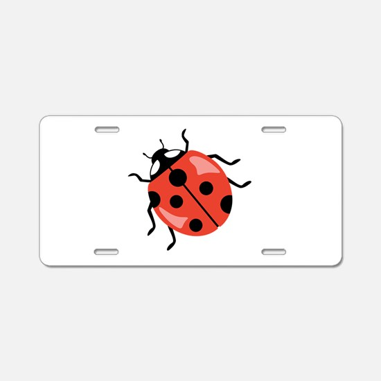 Red Ladybug Aluminum License Plate