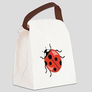 Red Ladybug Canvas Lunch Bag